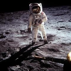 NASA file image shows Buzz Aldrin on the moon next to the Lunar Module Eagle